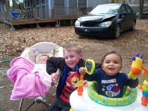 My grandsons with my youngest granddaughter