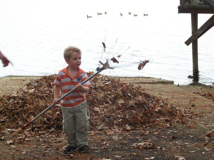 Conner raking leaves
