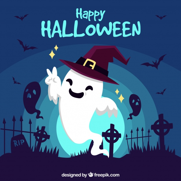happy-halloween-background-with-funny-ghost_23-2147681508