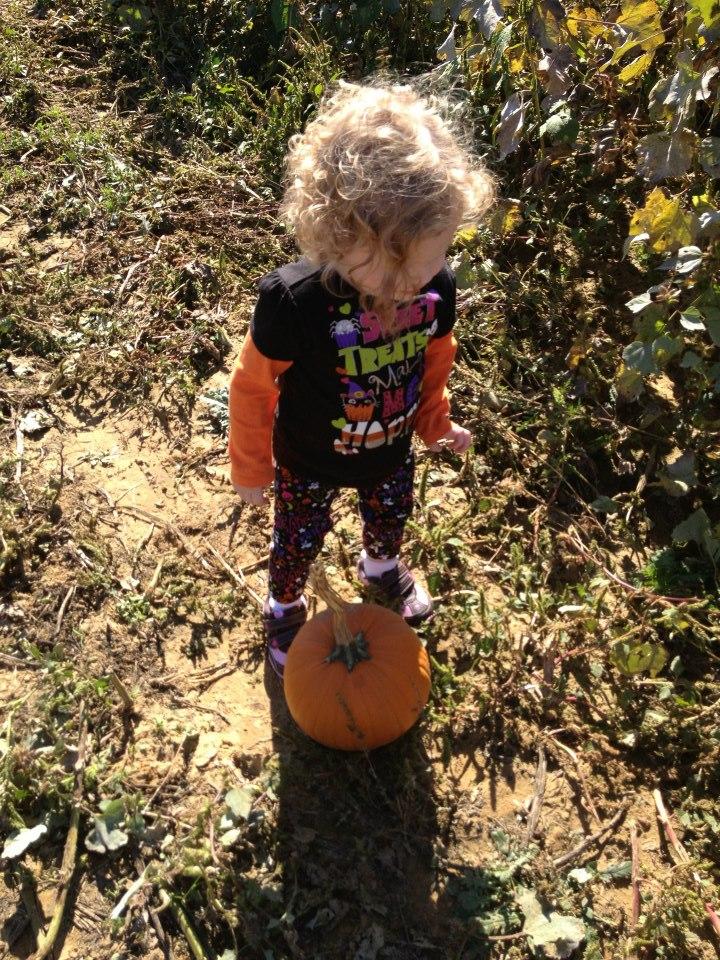 Kenzy in pumpkin patch